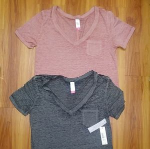 Burnout V Neck Tees Lot of 2